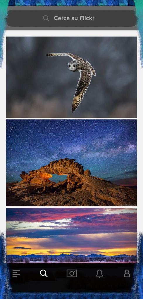 Schermata iniziale Flickr